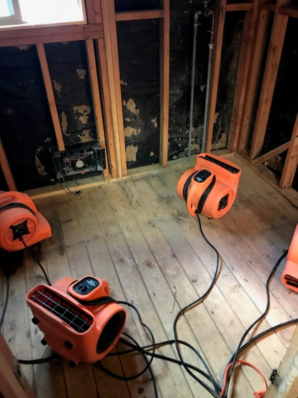 mold removal and water damage restoration equipment in a home